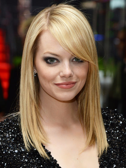 hairstyles with bangs emma stone long side swept bangs