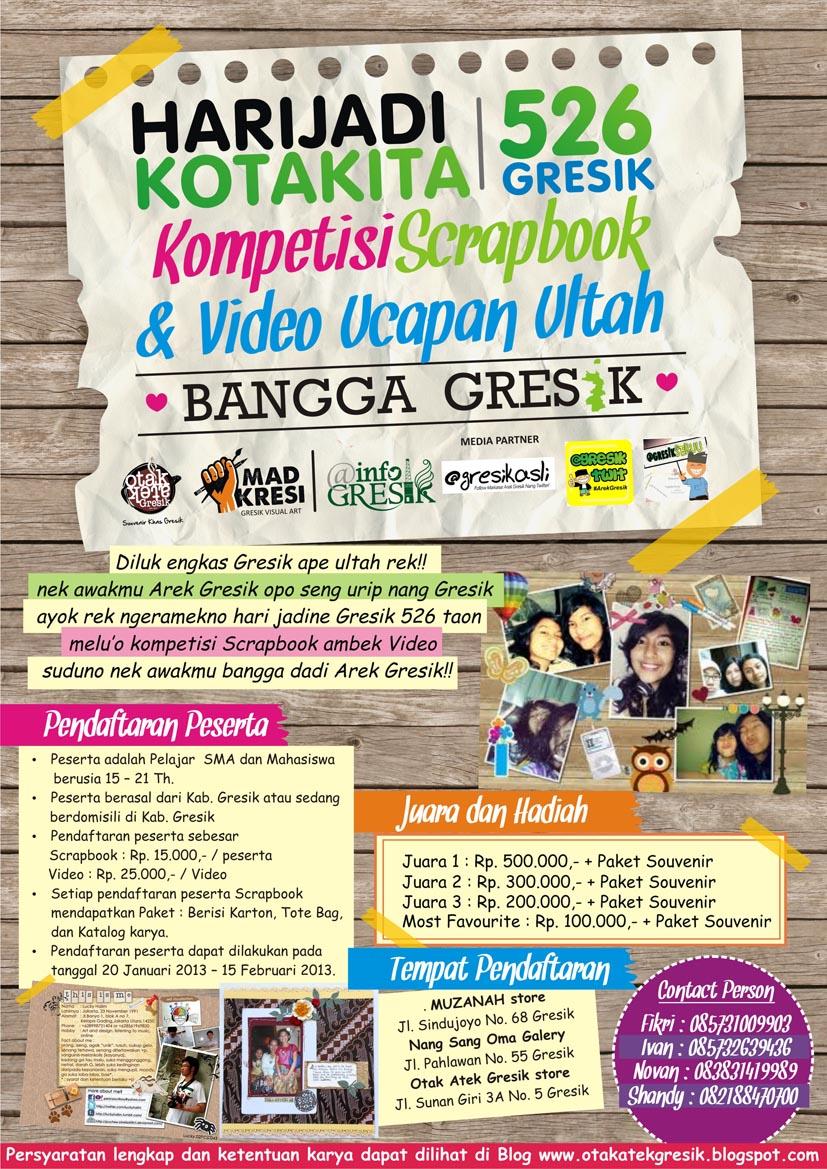 Poster Kompetisi Scrapbook Dan Video Ucapan Ultah Hari Jadi Kota Kita 526 Gresik