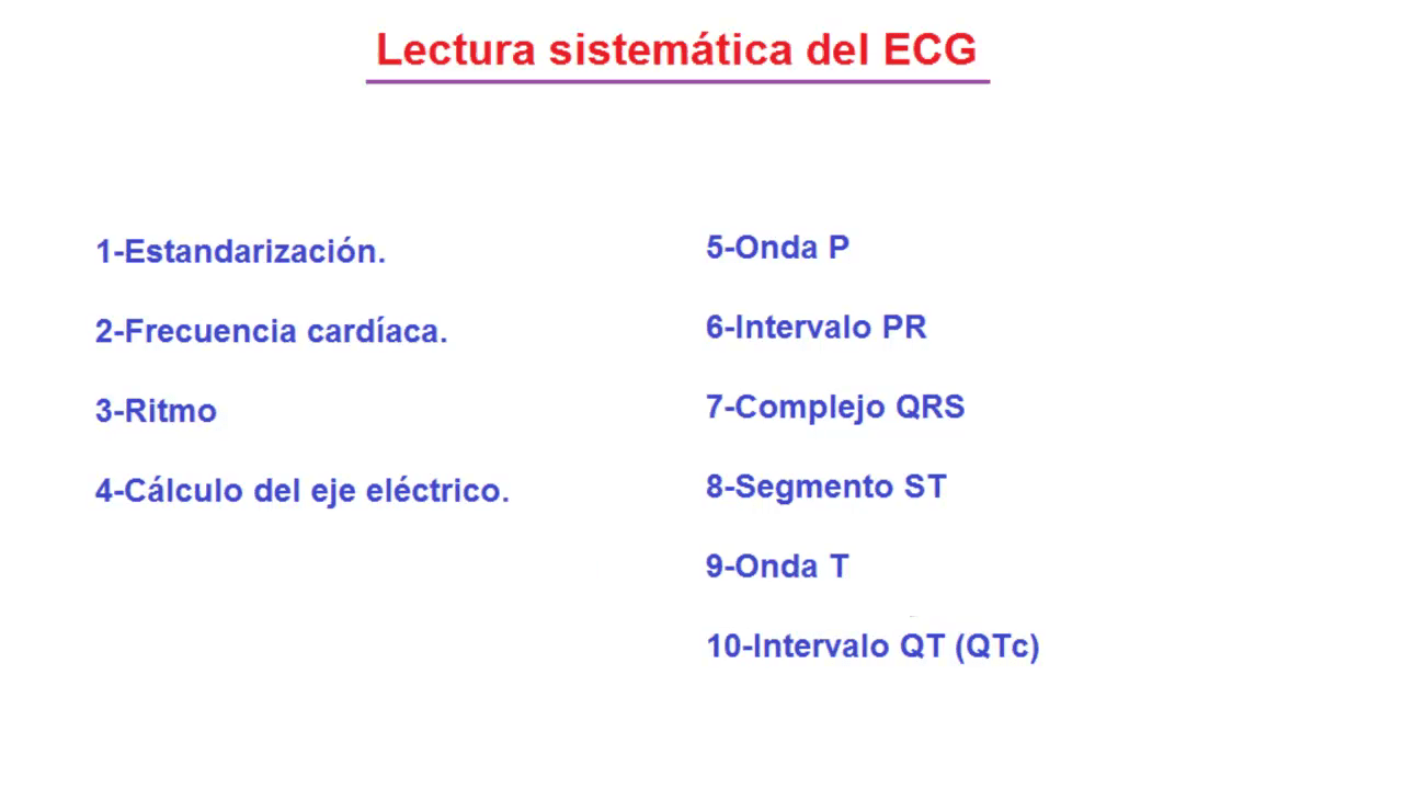 Lectura del electrocardiograma (ECG, EKG)