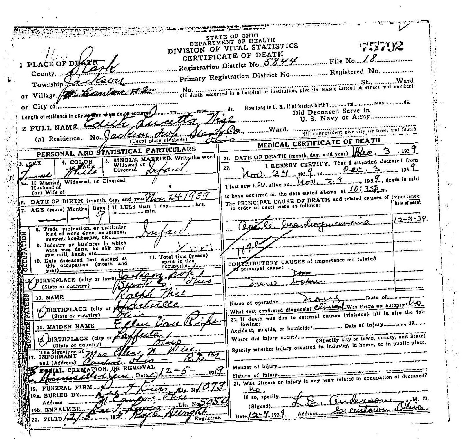 Edith Lucetta Wise - Ohio Death Certificate | Brumbaugh Family Genealogy