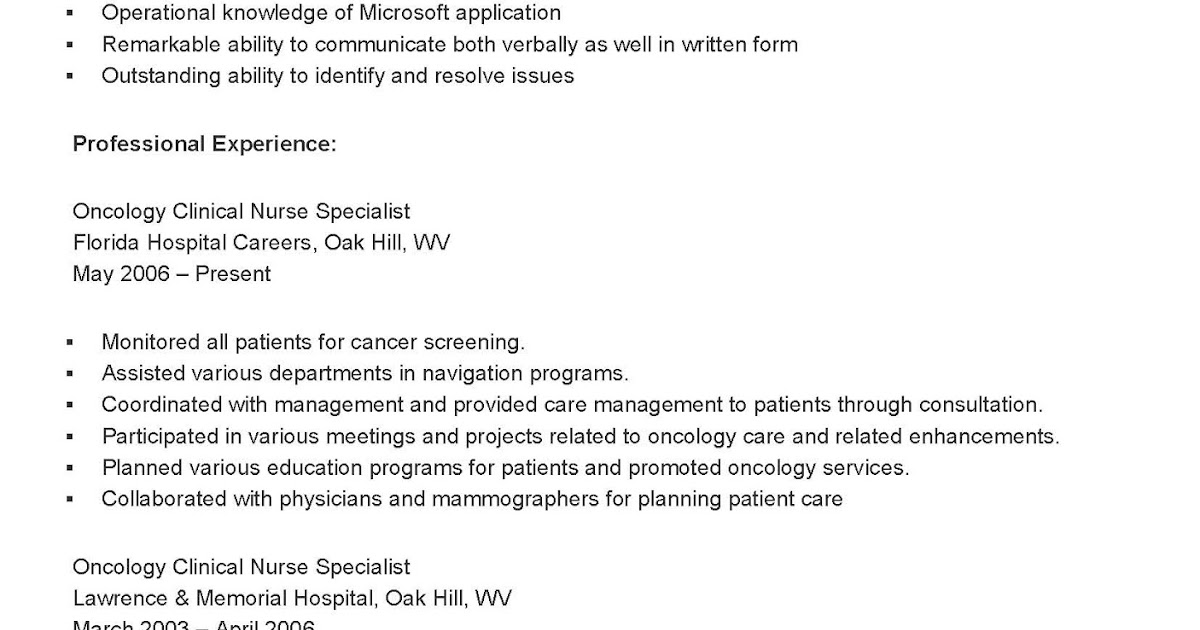 resume samples sample oncology clinical nurse specialist resume