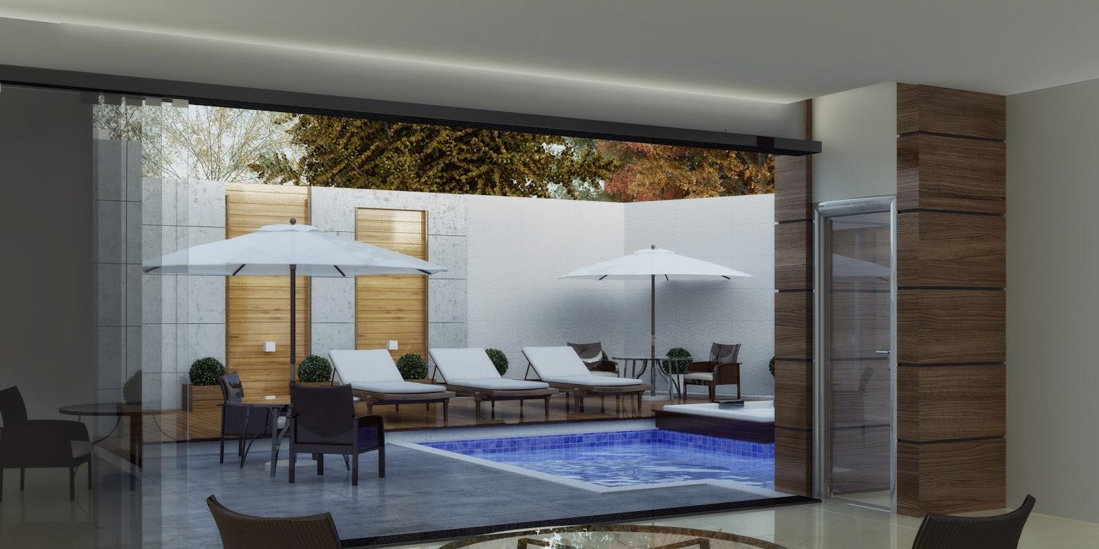 3dsul maquete eletr nica 3d casa moderna com piscina for Casa moderna 4 ambientes