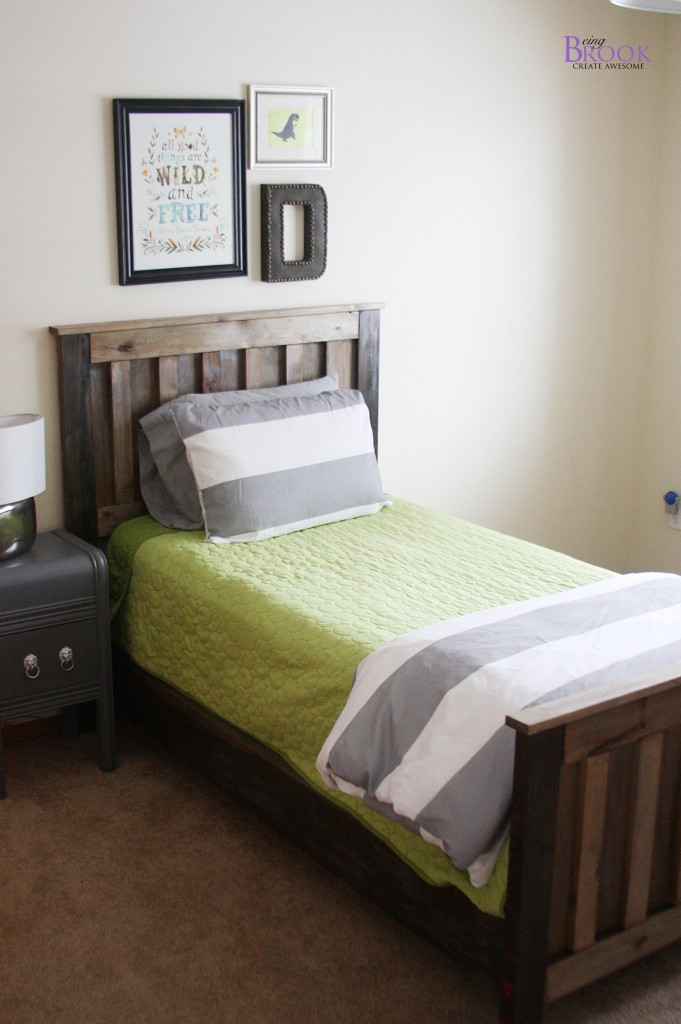 diy ana white twin bed rustic aged finish beingbrook