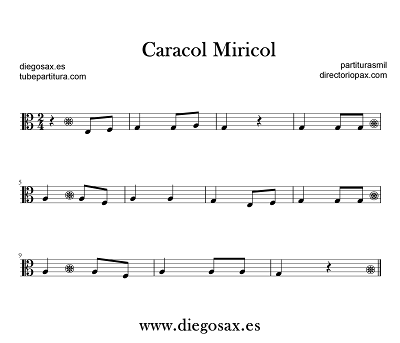 Partitura de Caracol Miricol en Clave de Do en Tercera Partituras populares infantiles