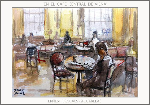 VIENA-CAFE CENTRAL-PINTURA-ACUARELAS-AUSTRIA-PINTURAS--ACUARELA-CAFETERIAS-PINTOR-ERNEST DESCALS-