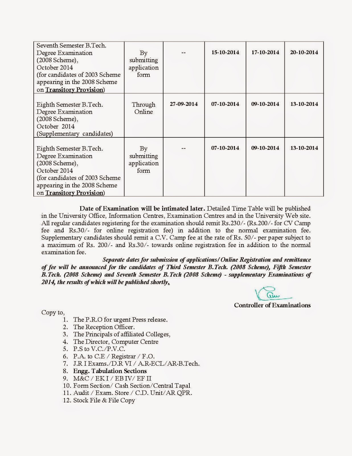 Kerala University B.Tech Notification  Combined First & Second -Third - Seventh - Eighth - B.Tech. Degree Examinations, October-November 2014