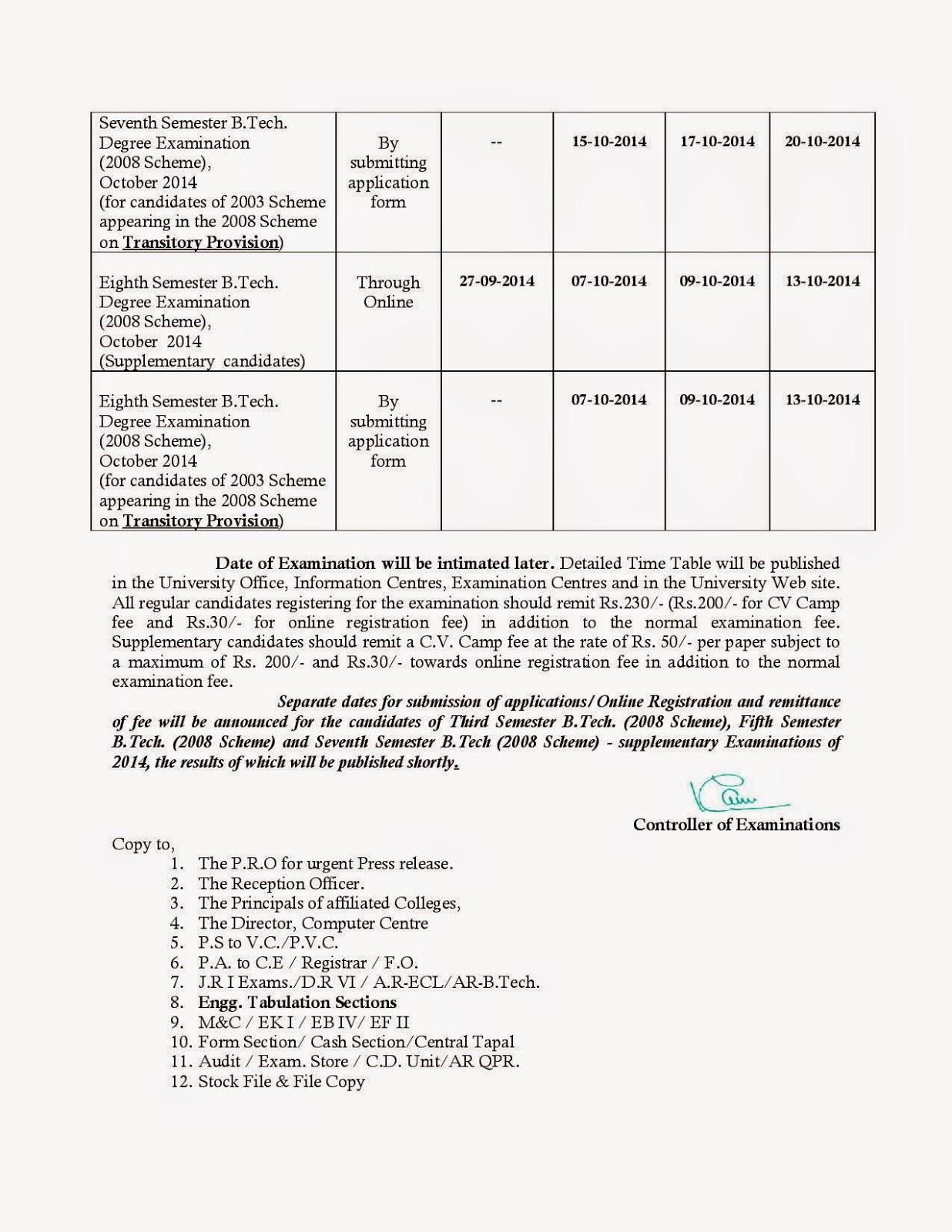 Kerala University B.Tech Notification  Combined First & Second -Third - Seventh - Eighth - B.Tech. Degree Examinations, October-November 2014