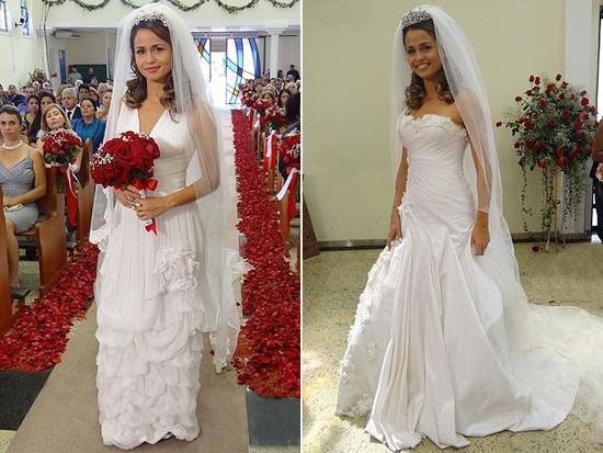 Versão de Morena e versão de Théo do vestido que será usado no casamento (Foto: Divulgação/ TV Globo)