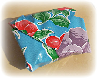 oilcloth lunch sandwich wrap blue hibiscus pattern
