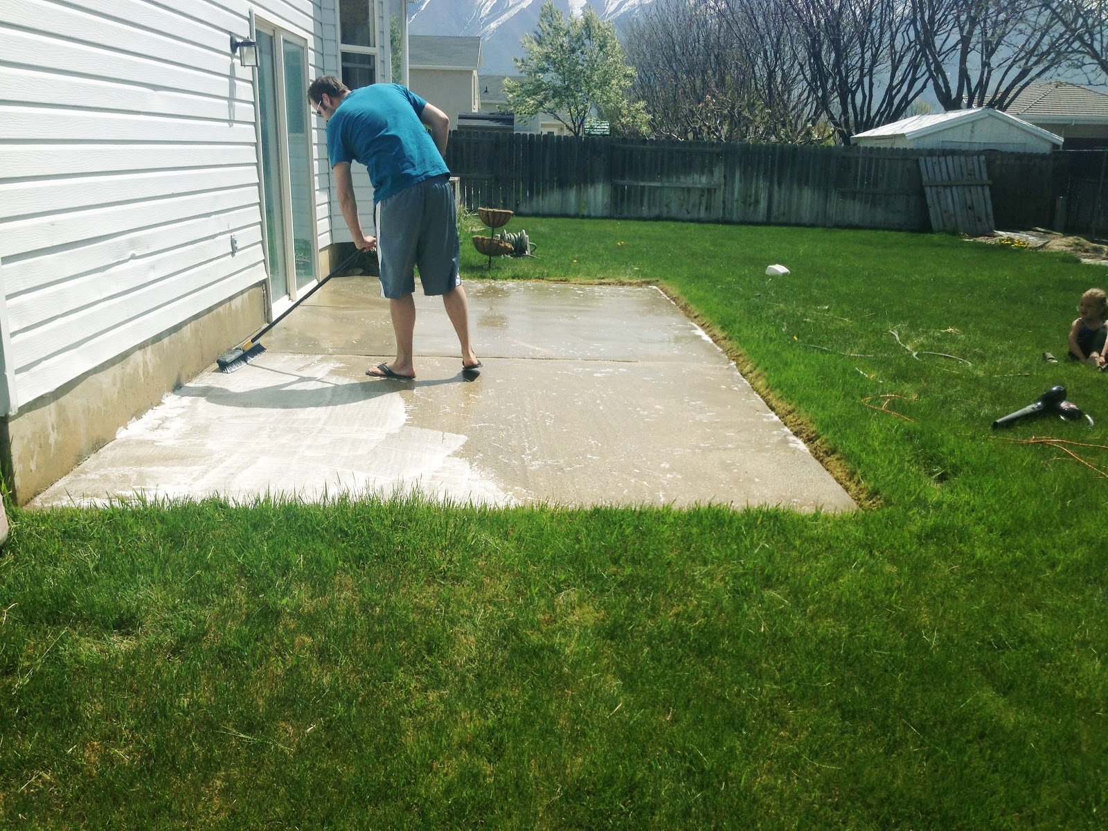 How to stain a concrete patio chris loves julia for How do you clean concrete
