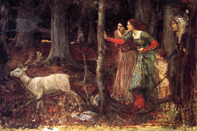 """The Mystic Wood"" John William Waterhouse (1914-1917?) magic forest, ladies, medieval magic, creepy, autumn"
