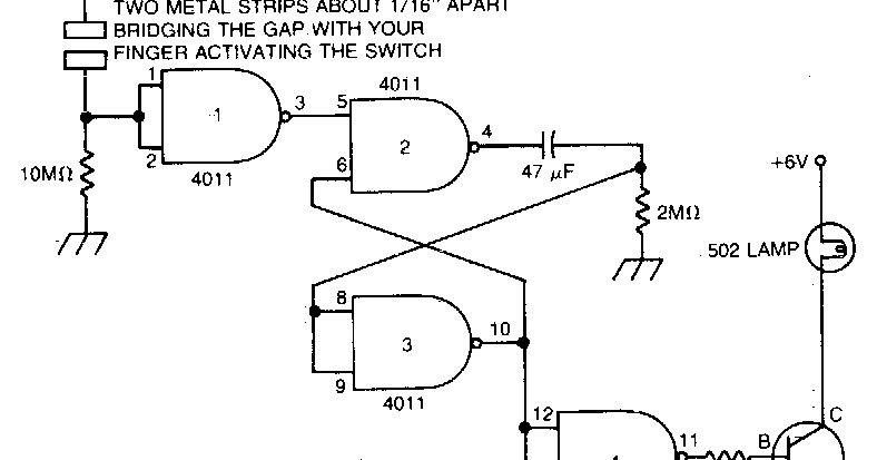 capacitance operated battery powered light circuit diagram