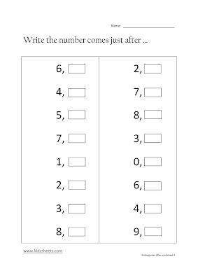Free Printable Kindergarten After Numbers Worksheets, Free Math Worksheets, Kids Math Worksheets, Maths Worksheets, Kindergarten After Numbers Worksheets, After Numbers, Kindergarten, Kids After Numbers.
