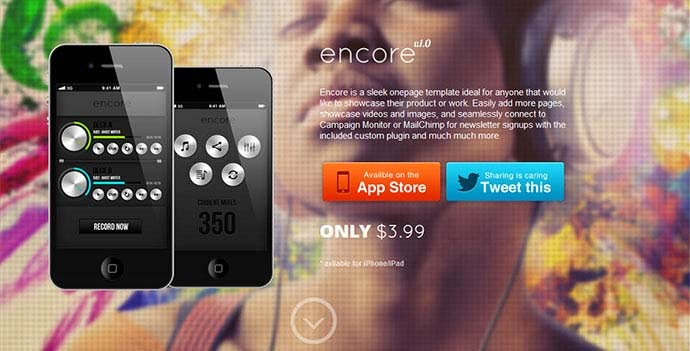 Encore Onepage Product Showcase with Parallax