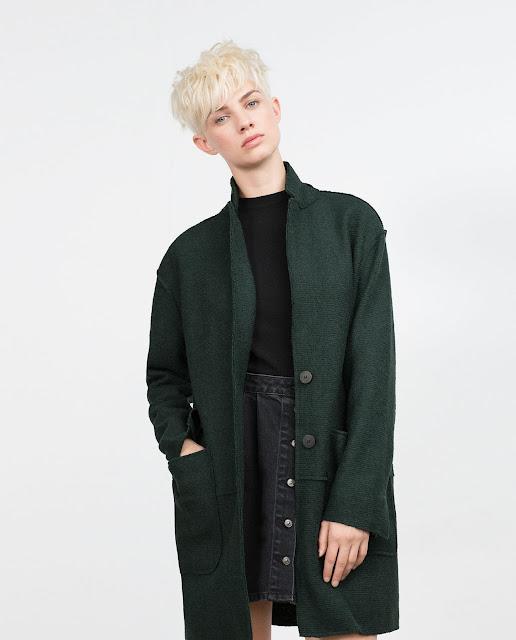 bottle green zara coat, zara green coat, dark green wool coat,