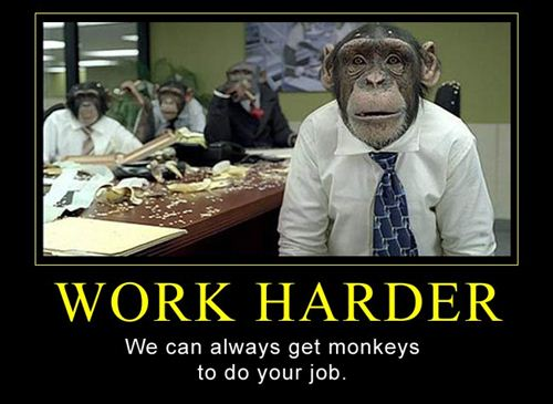 Funny Labor Day Posters: Motivational Poster About Labor Day With The Funny Monkey Worker To Make Them Work Harde
