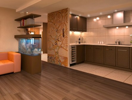 makes kitchen design, combined with the living room