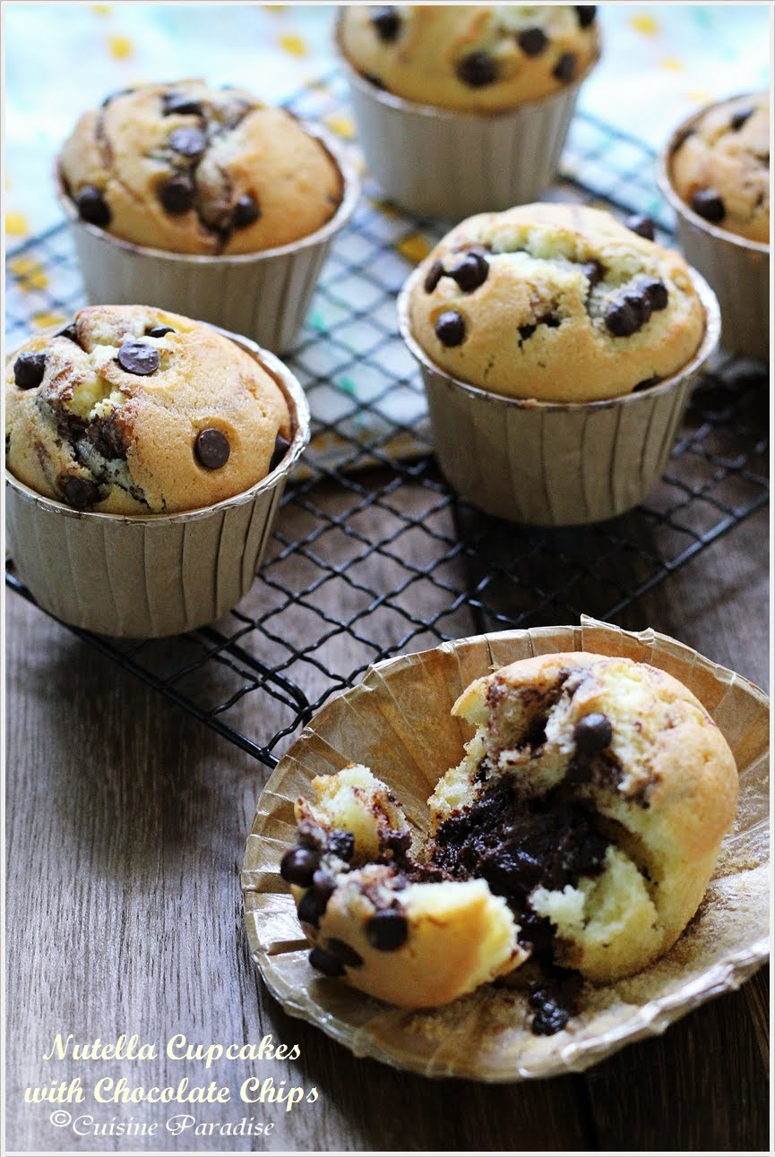 NUTELLA CUPCAKES WITH CHOCOLATE CHIPS