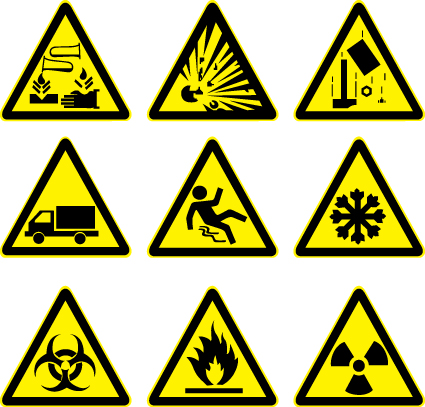 simbolos de precaucion en vector