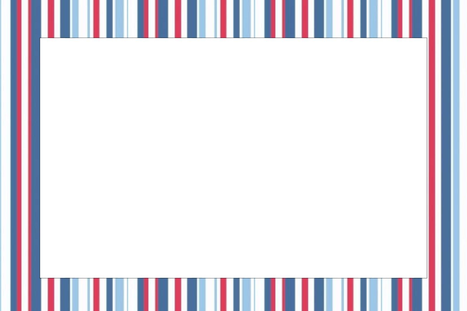 Moldura Convite Cart  O Azul  Vermelho E Branco Listrado