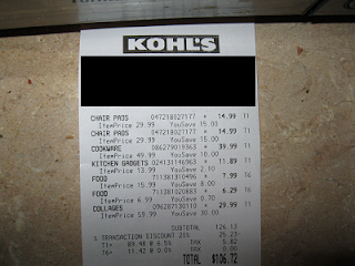 my kohls shopping receipt