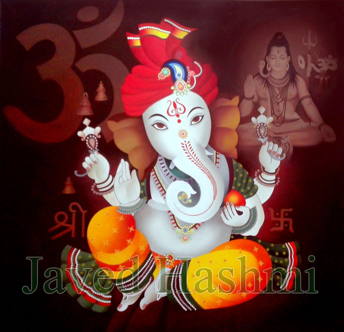 Lord ganesha multi color painting hd image - Lord Ganesha Contemporary Oil Painting Size 72 X 72 Inch Medium Oil On Canvas