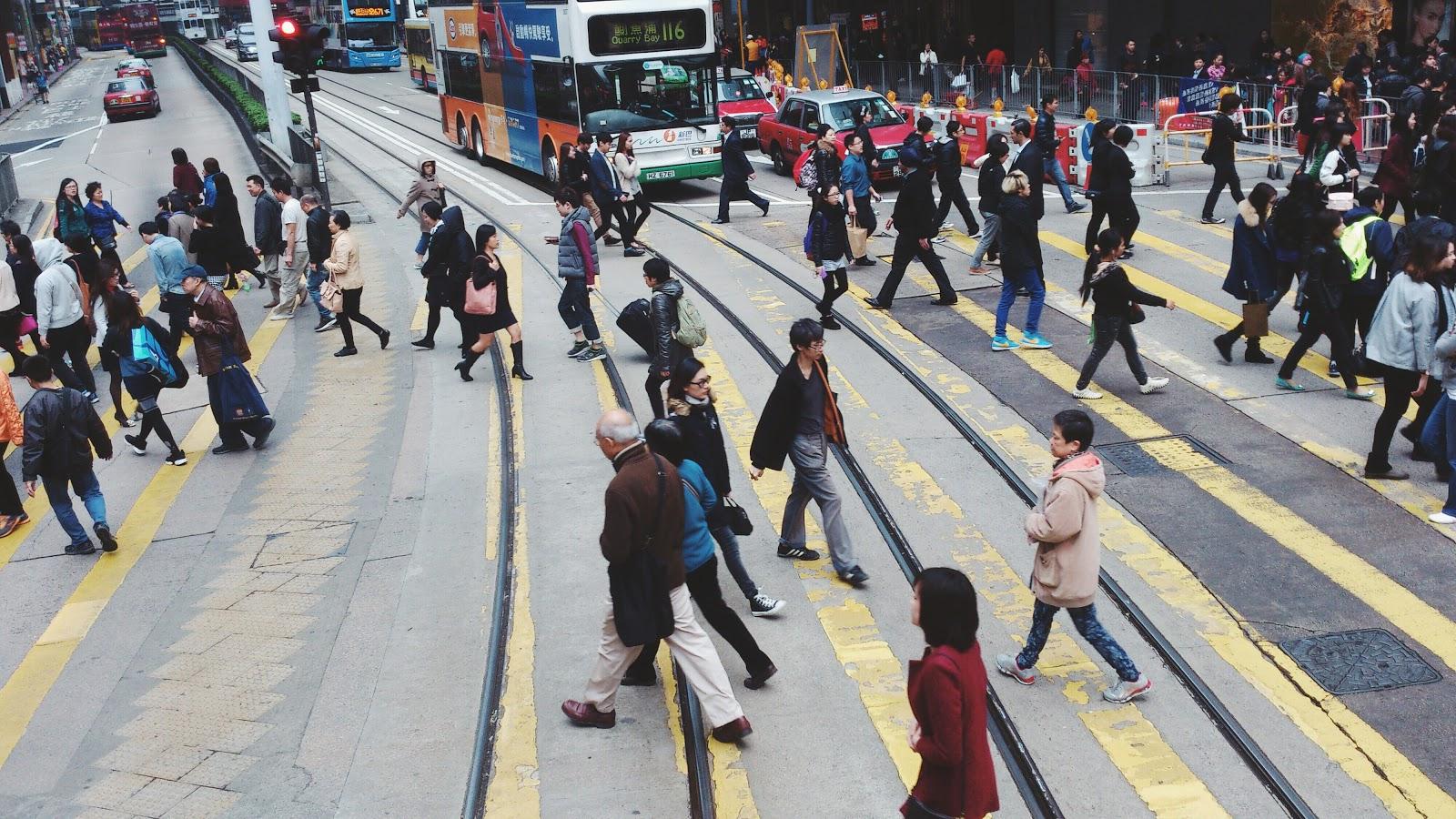 людская толпа в Гонконге