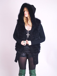 Vintage 1980's black cashmere and fox fur hooded cardigan.