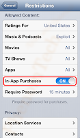In-app purchase restriction iPhone iOS Android
