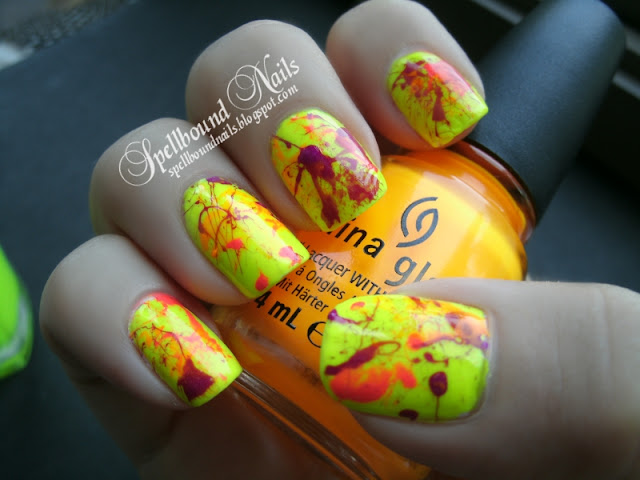 splatter neon nails nailart nail art mani manicure orange yellow purple pink Funky Fingers China Glaze Color Club Spellbound