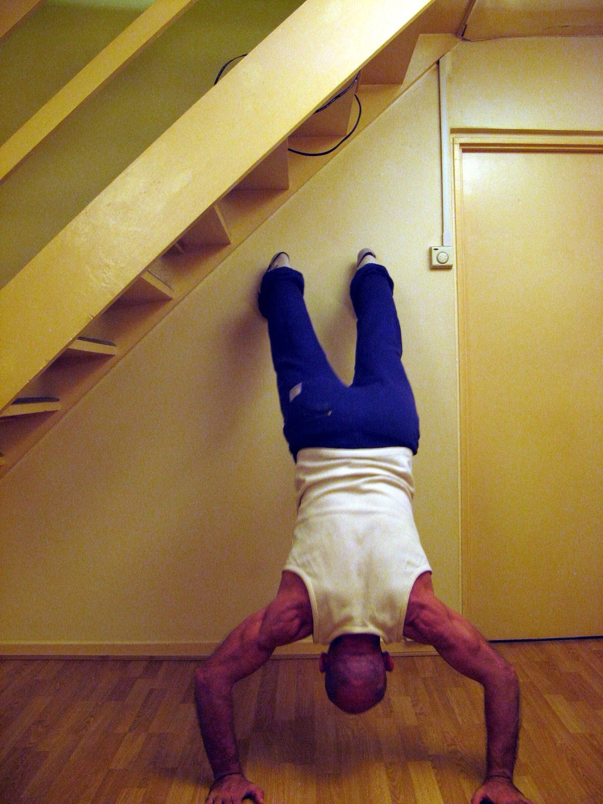 Wall Pushes Wall Bent Waist Handstand Push