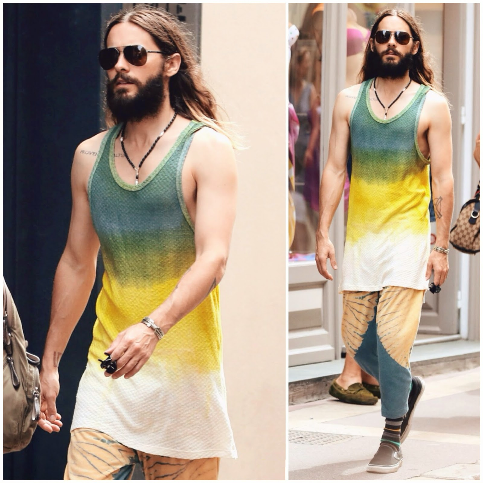 Jared Leto in The Elder Statesman tiedye ombre green yellow white vest in Saint Tropez 20th July 2014