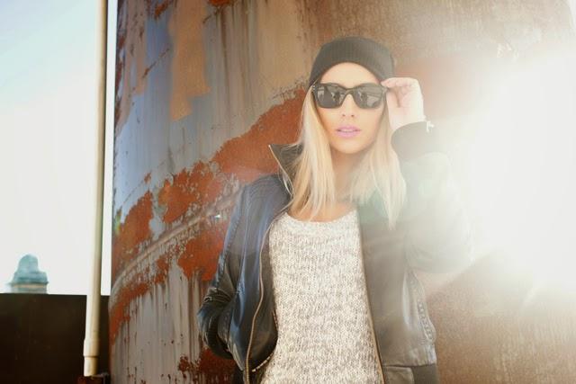 aritzia sweater dress, Danier leather jacket, super sunglasses