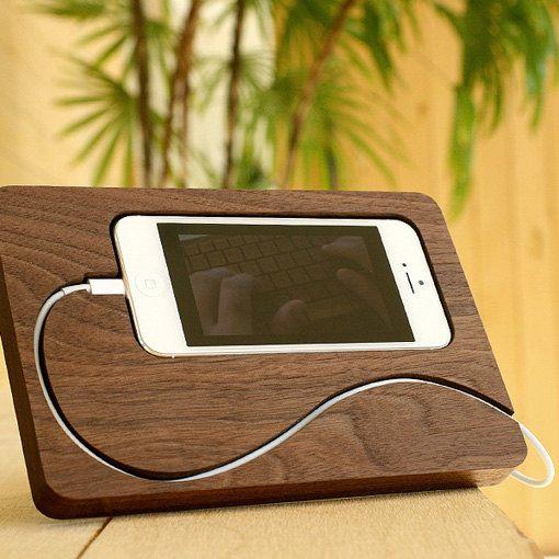 accesorio para celular de madera