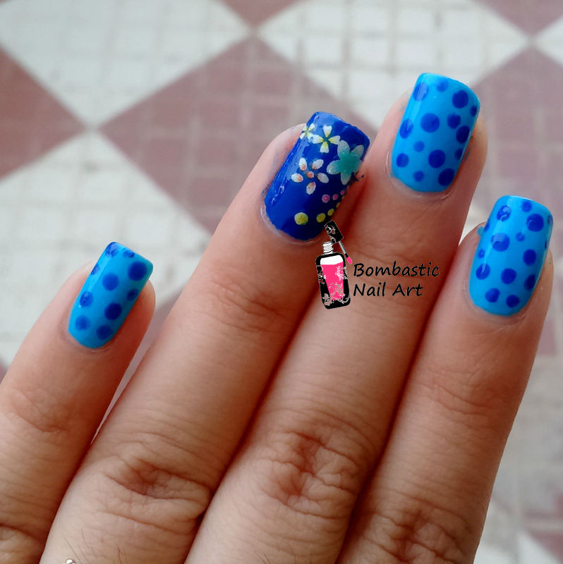 Blue Polka Dots with 3D Decals Nail Art – Bombastic Nail Art
