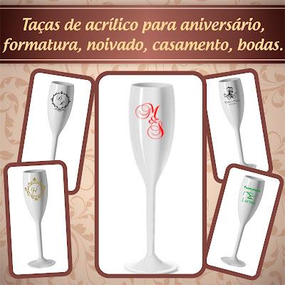 Taças de acrilico personalizadas - cor branca