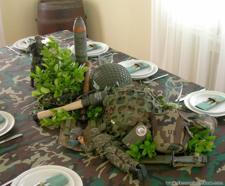Decoracion De Mesas Mesa Con Soldados De Camuflaje