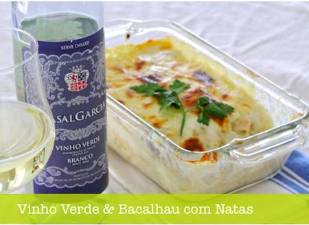 Vinho Verde green wine portuguese and bacalhau com natas salted cod