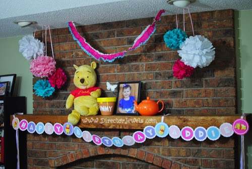 Fireplace Decorations for Disney Winnie the Pooh Birthday Tea Party Theme for Toddlers. 2nd Birthday Party Ideas. Hunny Pot, Flower Poofs, Teapot.