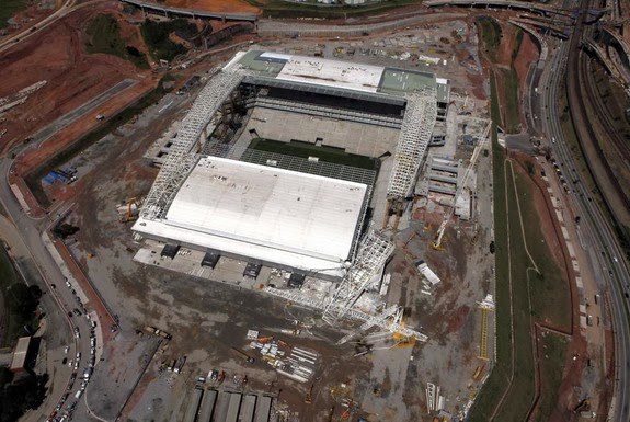 An aerial view of the area where a crane collapsed on the site of the Arena Corinthians