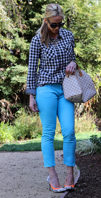 gingham top neon pants