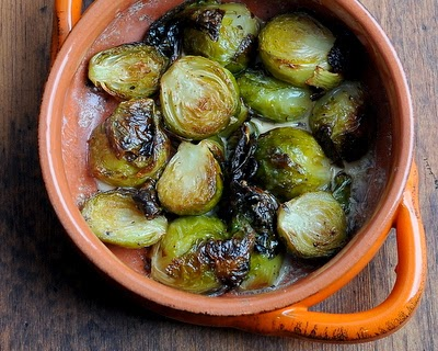 Creamy Brussels Sprouts Gratin, first roasted, then braised in cream or half 'n' half with an optional panko-parmesan topping.