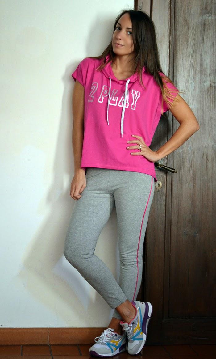 leggings felpa rosa grigio