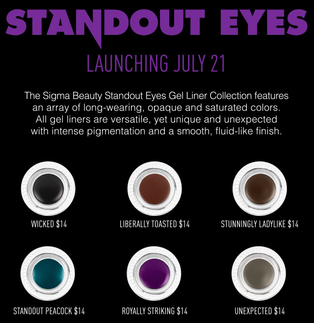 Sigma Standout Eyes Gel Eyeliner July 2014