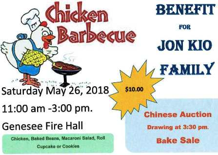5-26 Chicken BBQ Benefit, Genesee, PA