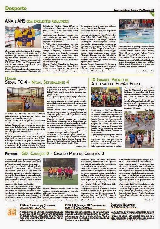 JORNAL COMÉRCIO SEIXAL e SESIMBRA nº 280 de 27 Março de 2015