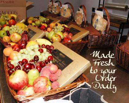hand assembled fruit basket gifts ready for wrapping and despatch
