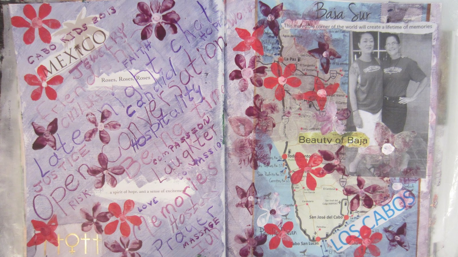 i also included scrapbook items from the trip a map a few phrases torn from tourist publications and a snapshot of us together