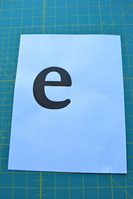 "Print out of ""e"" to trace for applique"