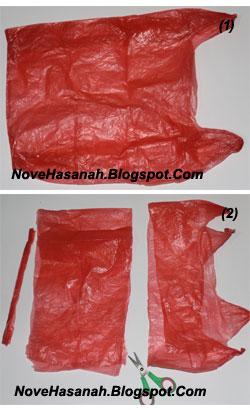 cara mudah untuk membuat bunga mawar dari kantong plastik bekas 3